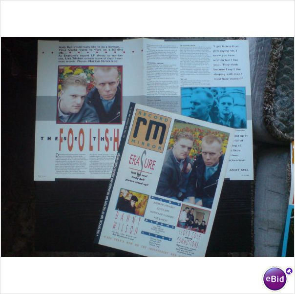 Erasure - These Foolish Things 2 page feature and cover Record Mirror