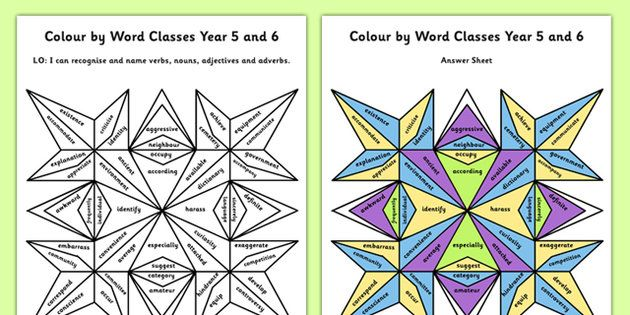 Year 5 and 6 Colour by Word Class | Color activities