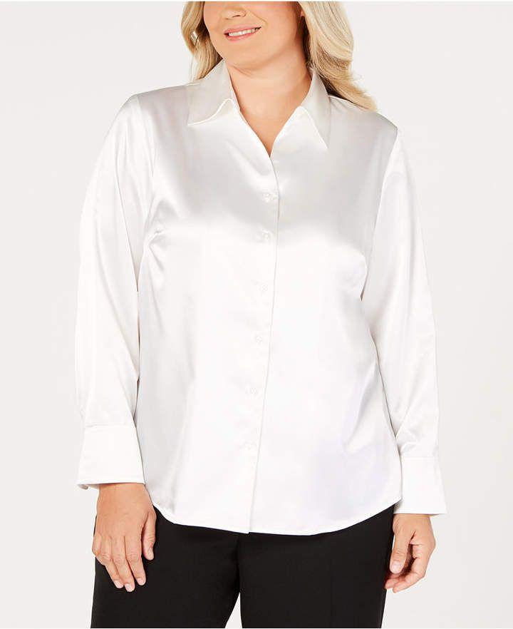 3972a972f2544 Kasper Plus Size Button-Front Tailored Blouse - Tan Beige 14W ...