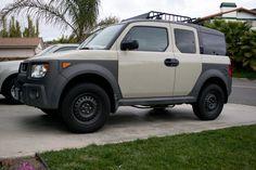 Desert Tan 3 Lifted Honda Element Honda Roof Rack Bars Gobi