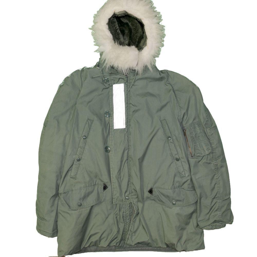 Vintage 1980 s N-3B Military Parka Extreme Cold Weather XL Fur Hood Navy  Snorkel  0ceda5a80
