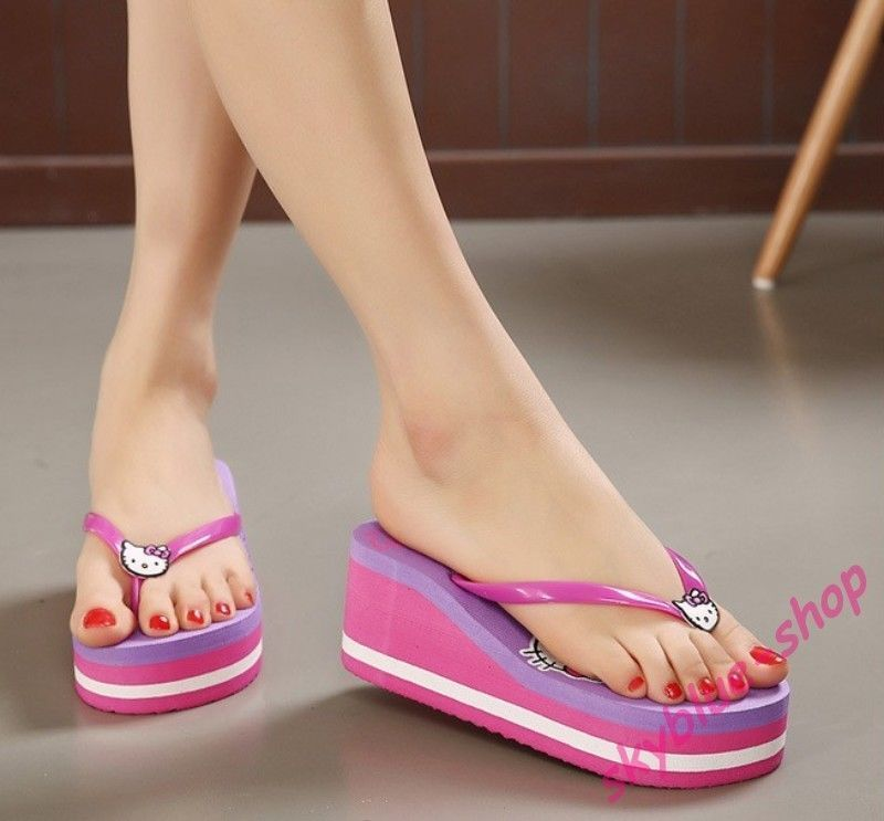 6e9b8cec64b6d1 Womens Casual Flip Flops Platform Wedge Heels Beach Sandals Thong Girls  Shoes