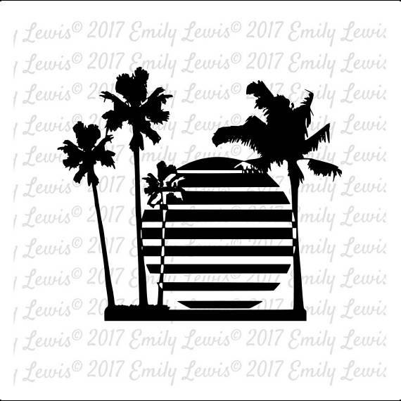 Sunset SVG Clipart Beach Svg Palm