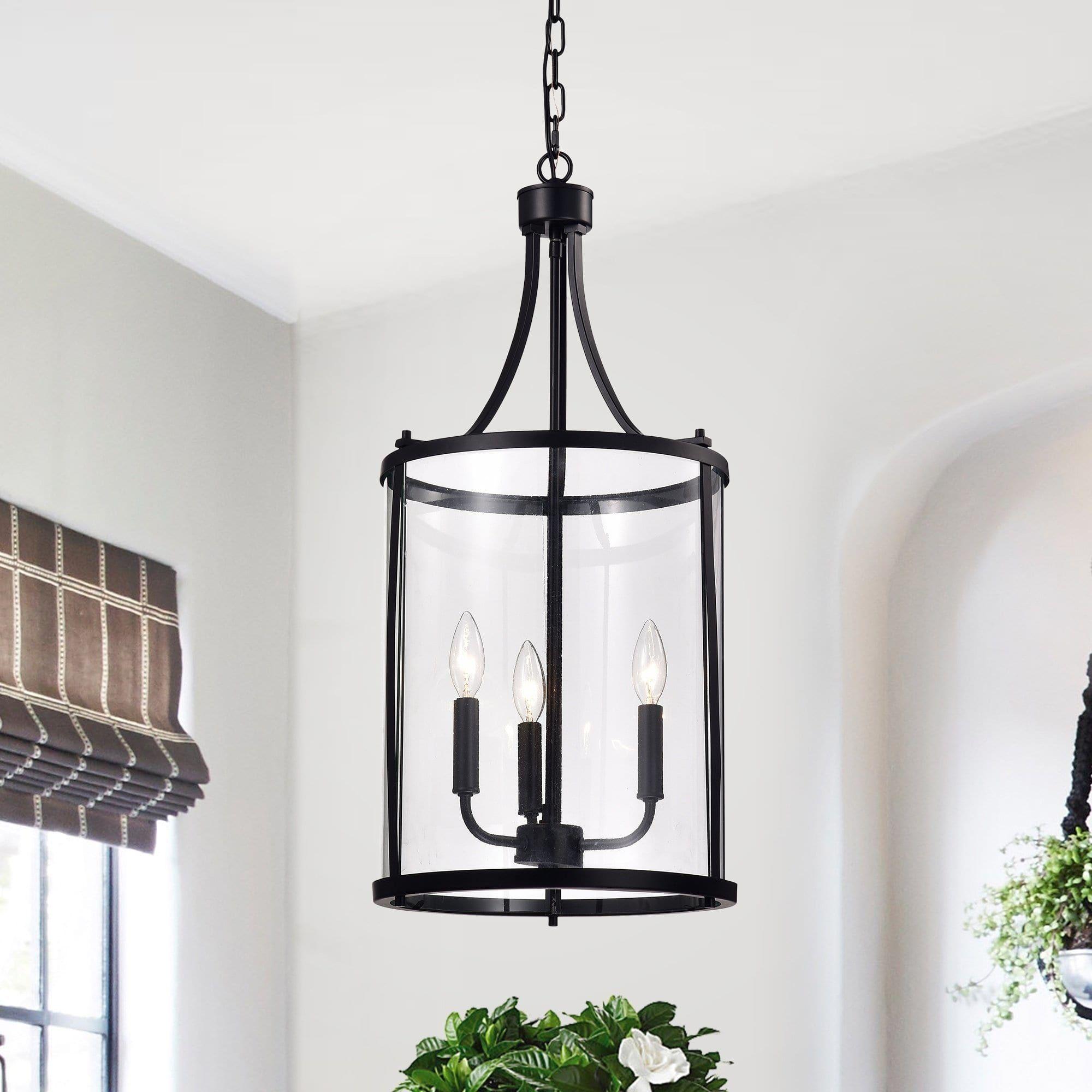 Hanma Matte Black 3 Light Candelabra Pendant Lantern Warehouse Of Tiffany Glass Lantern Pendant Lantern Lights Black Chandelier
