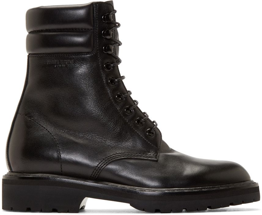 Black Leather High Combat Boots