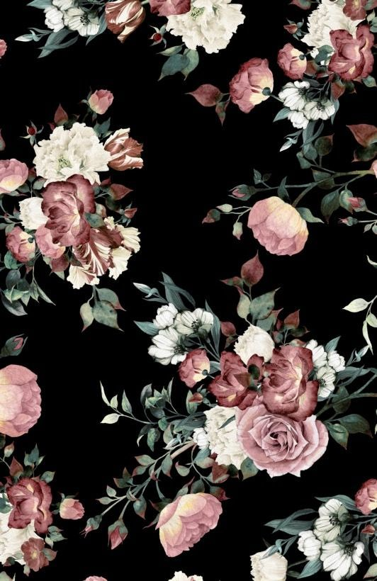Cute Papers In 2020 Vintage Floral Wallpapers Black Floral