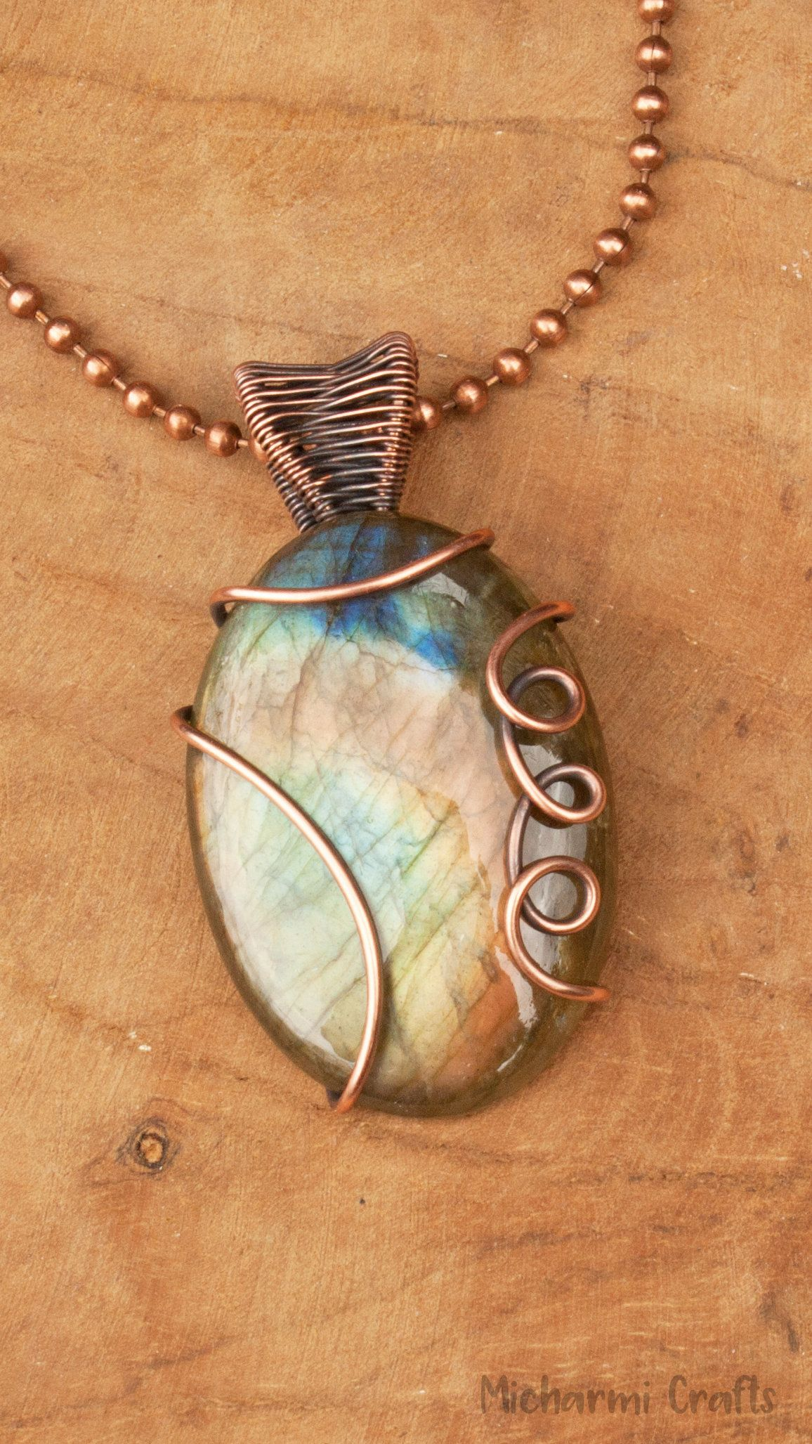 Multicolor Labradorite Stone Pendant Necklace, Copper Wire Wrap Gemstone Jewelry, 7th anniversary gift #gemstonejewelry