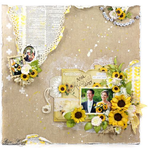 Sunflower Wedding scrapbook page & tutorial by @creativespell for Scrapbook Adhesives by 3L Blog, using @donnasalazar Lace Ribbons. Love this!