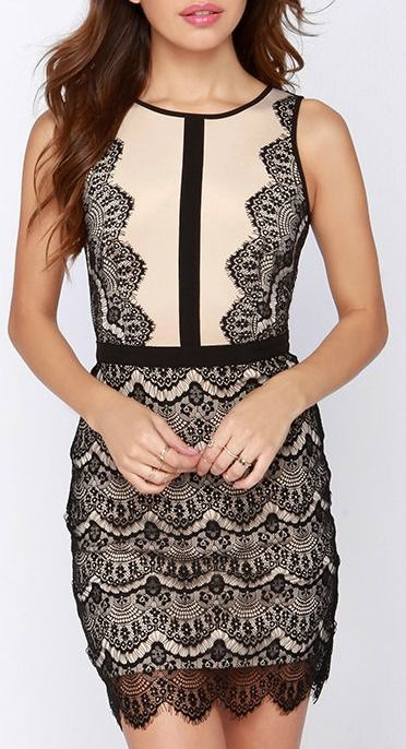 2eb19b229 Act the Part Beige and Black Bodycon Lace Dress