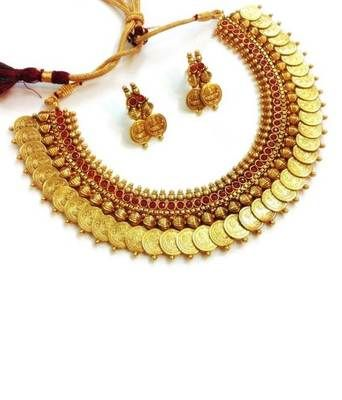 Traditional temple red coin necklace set Shopping