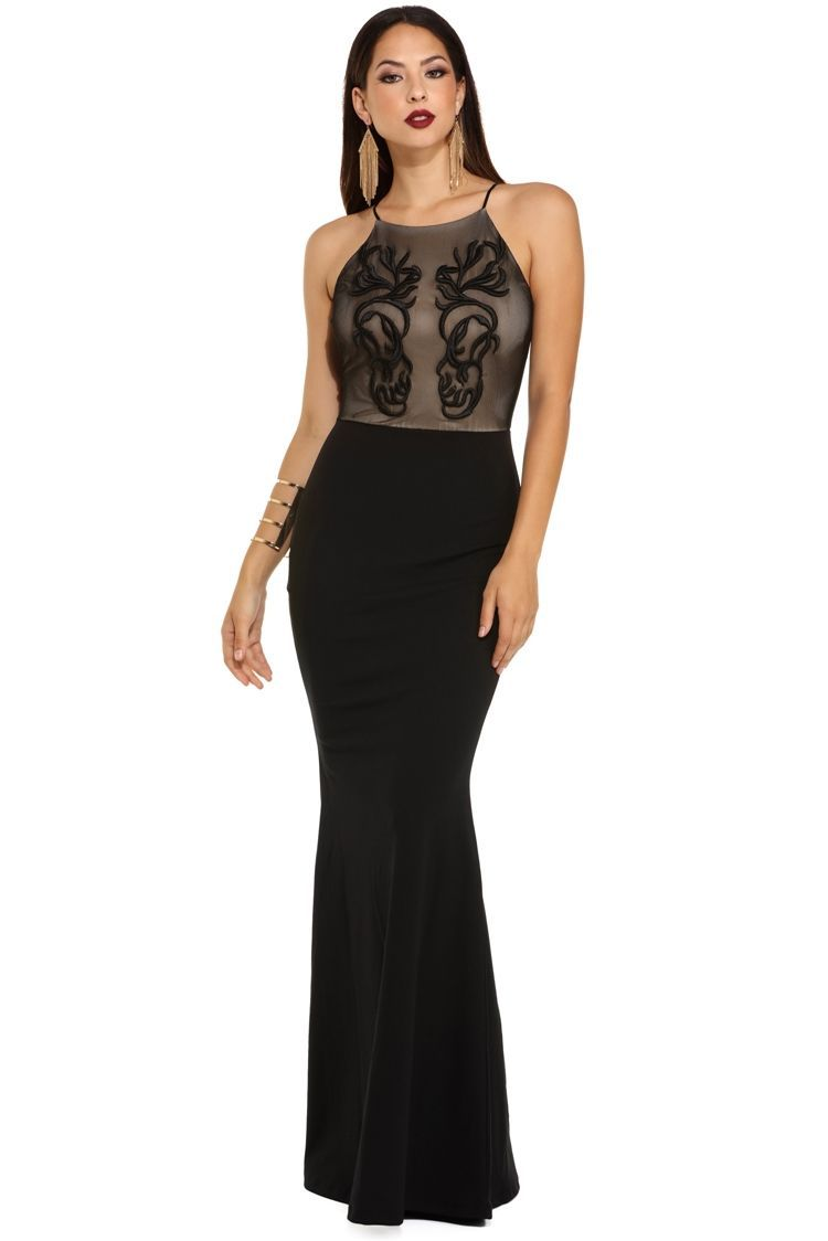 Final sale brianne black applique formal dress masquerade gown