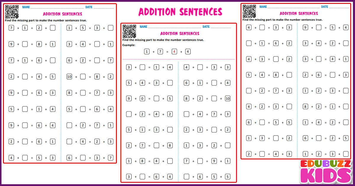 Free Math Addition Sentences Worksheets For The Kids Of Grade 1 Kindergarten With Common Core St Math Worksheets Math Addition Worksheets Addition Worksheets