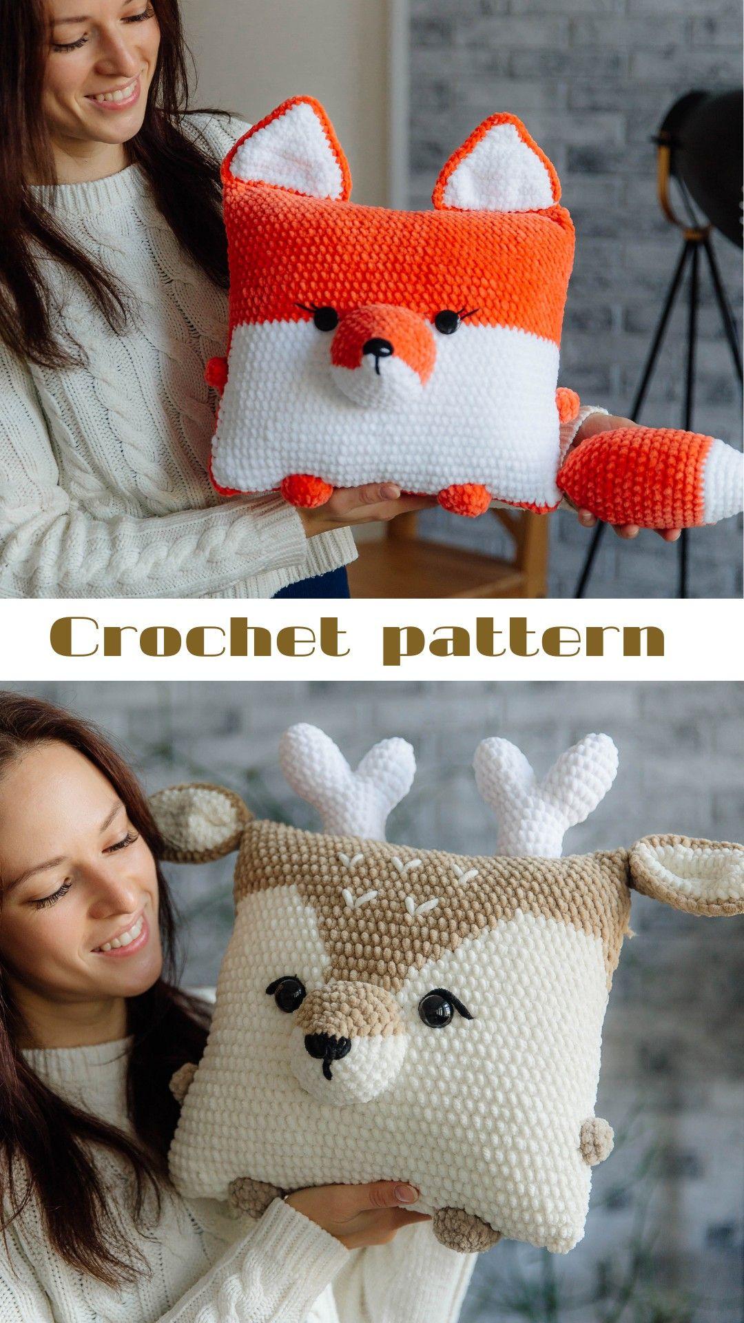 Crochet raindeer pattern, crochet fox pattern, crochet pillow, crochet toy pattern, christmas gift