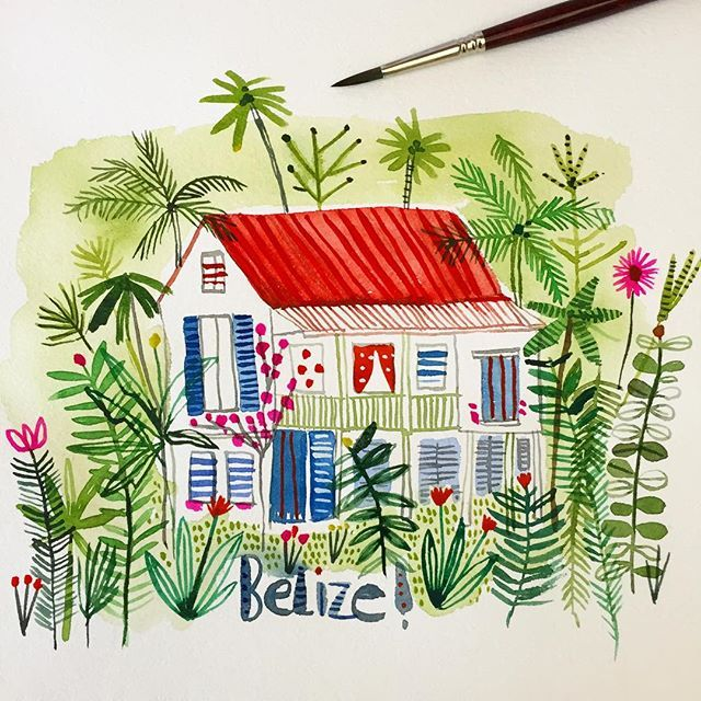 I can't believe I'm leaving for a trip to Belize on Sunday. Lots of R&R, painting, yoga, sunshine, no stress... A creative reboot with @helen_dardik and @virginmacdonald #belize #watercolor #paint
