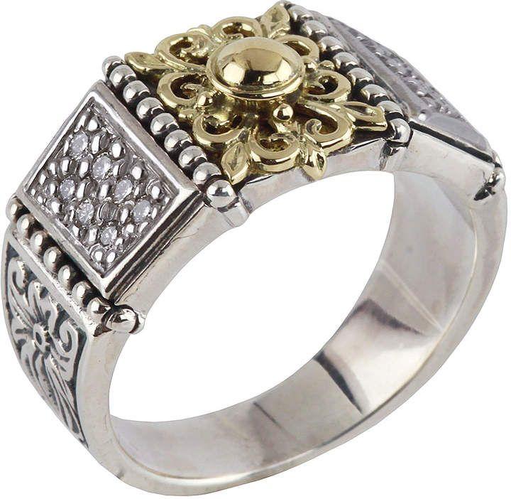 Konstantino Asteri Slim Floral Pave White Diamond Band Ring, Size 7