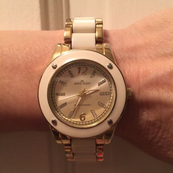 Anne Klein Watch White and Gold. Wore a few times. Looks new. Needs a battery. It has been in drawer. No box available. Accessories Watches