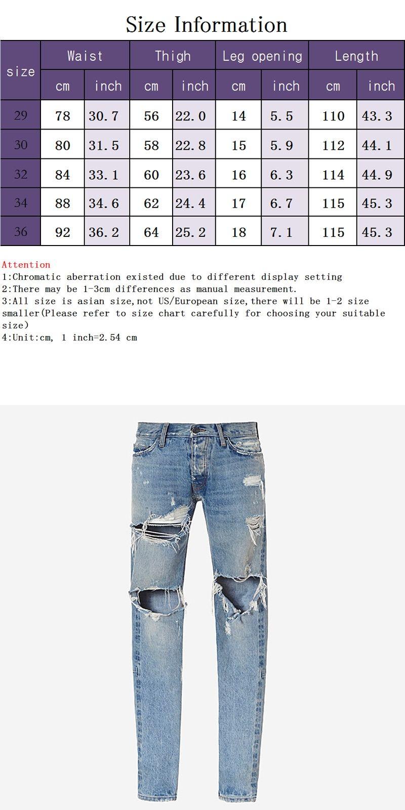 2017 Broken hole damaged Distressed ripped lt blue jeans leg zipper Kanye  west men denim Frazzle pants 1c52b872ba