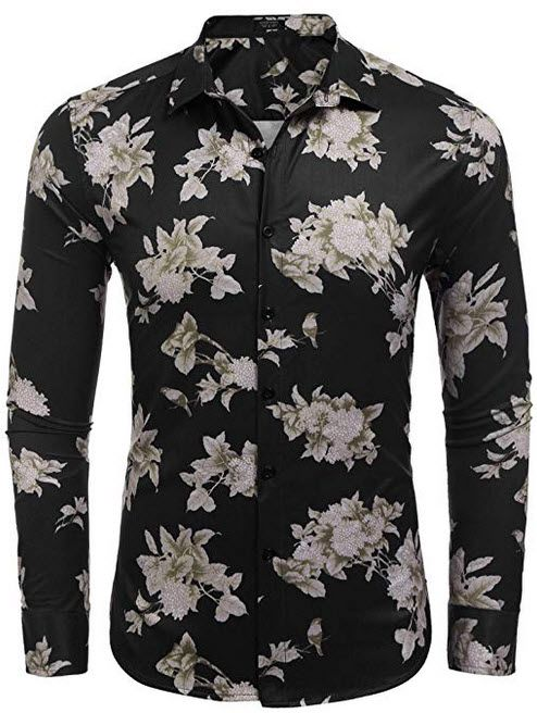 965150af995 COOFANDY Men s Floral Shirt Slim Fit Casual Button Down Long Sleeve Shirts  black