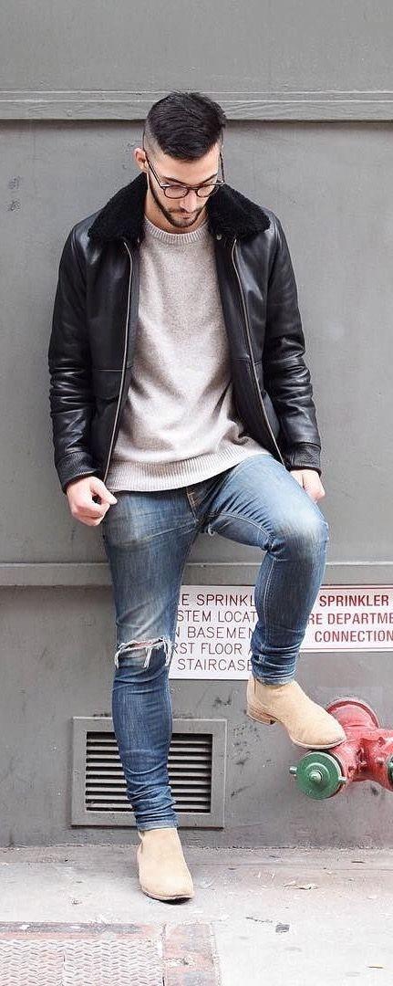 Pantalones Chaqueta Combinación Rotos Y Negra Vaqueros Buena xxPwBpCq