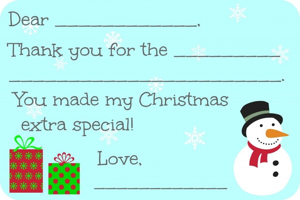 FillInTheBlank Christmas Thank You Cards Free Printable  Free