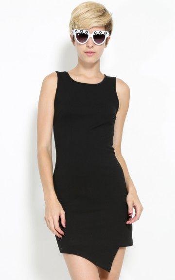 Curvaceous Asymmetric Bodycon Dress BLACK S $24.31