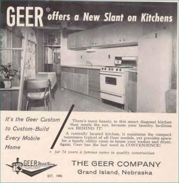 Geer Mobile Home Slanted Kitchen 1960