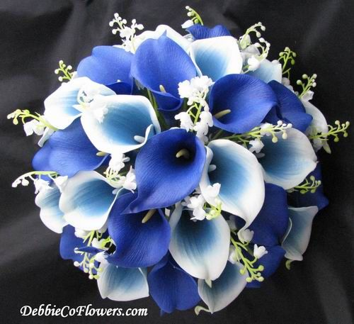 Dark Blue Flowers For Wedding Bouquets: Real Touch Bouquet Dark Blue Calla Lily [RTBCalla]