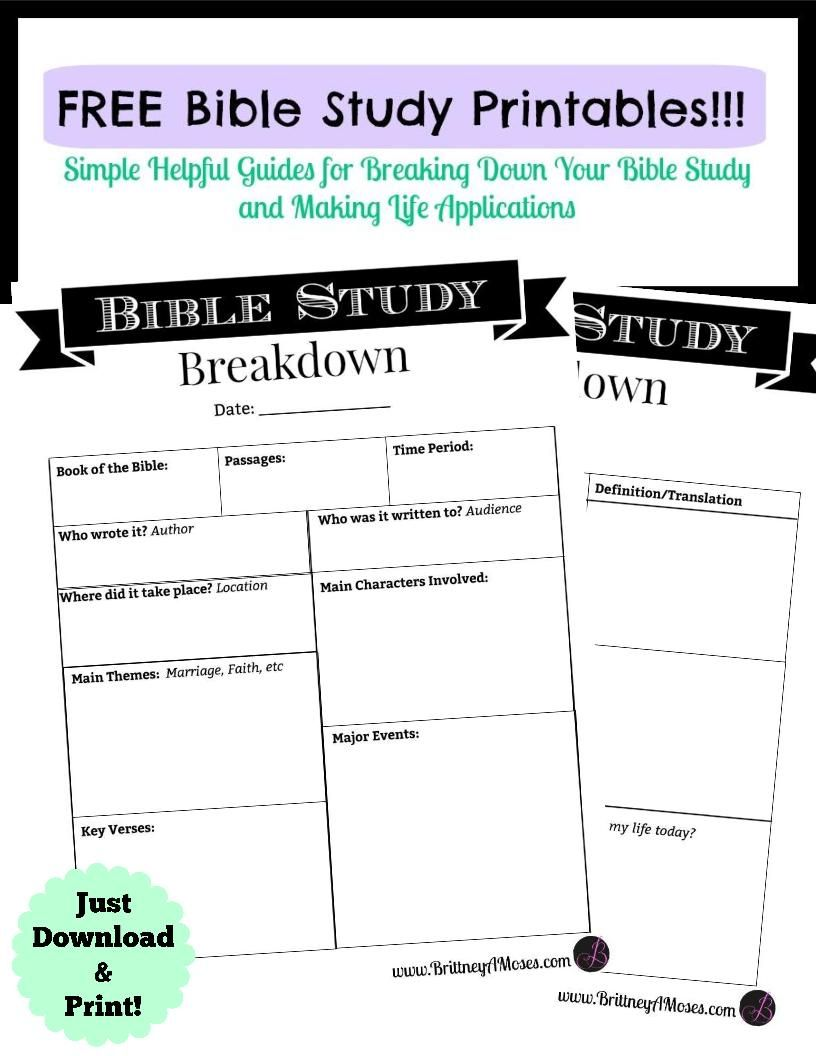 Worksheets Free Bible Study Worksheets printable bible study guide and journaling brittney moses