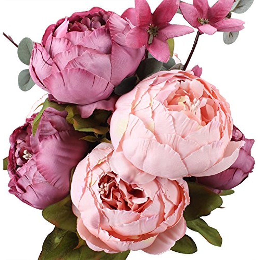Details about duovlo vintage artificial peony silk fake flowers details about duovlo vintage artificial peony silk fake flowers wedding home office decor new dhlflorist Images