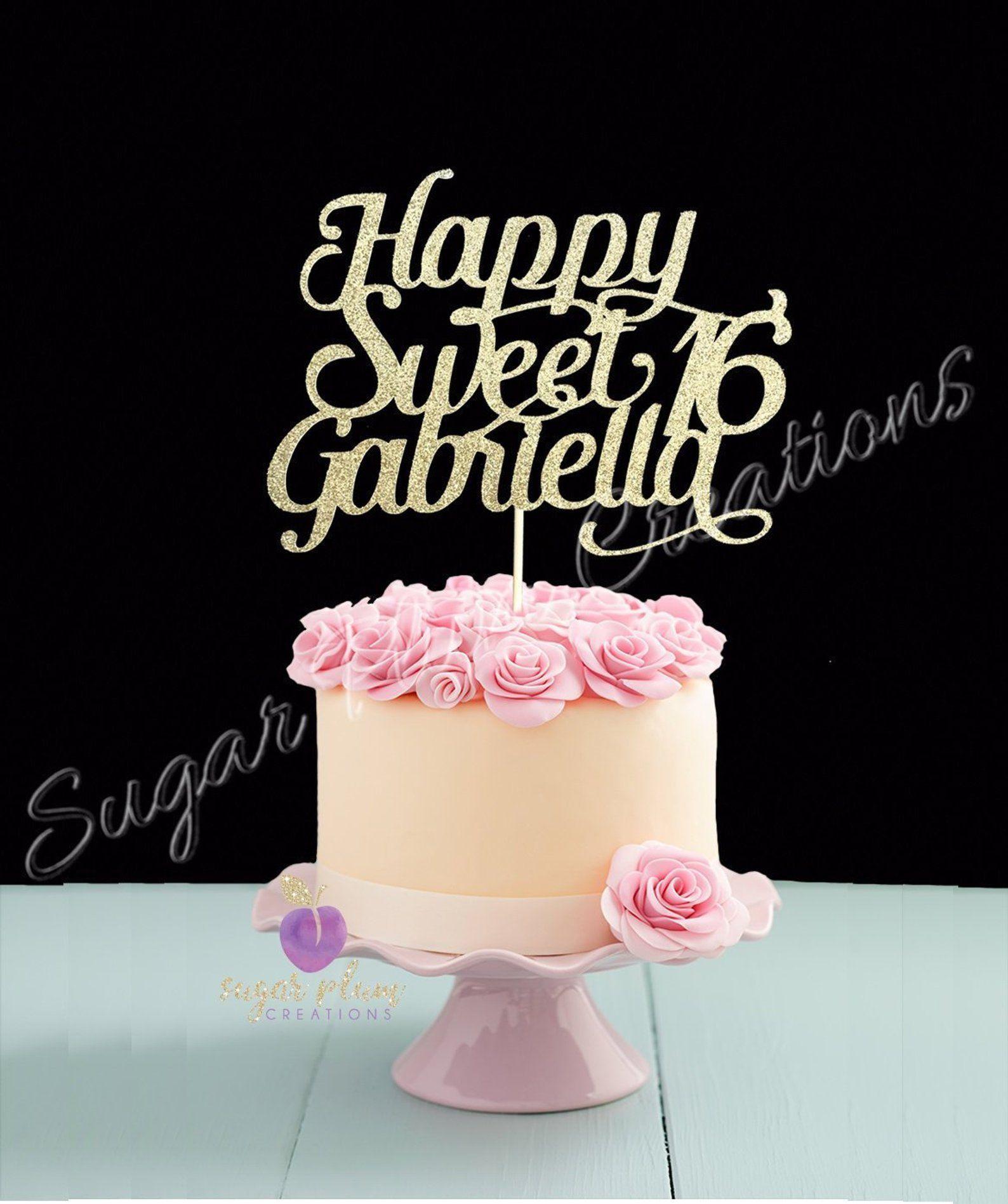 Any Name, Glitter Happy Sweet 16 Birthday Cake Topper