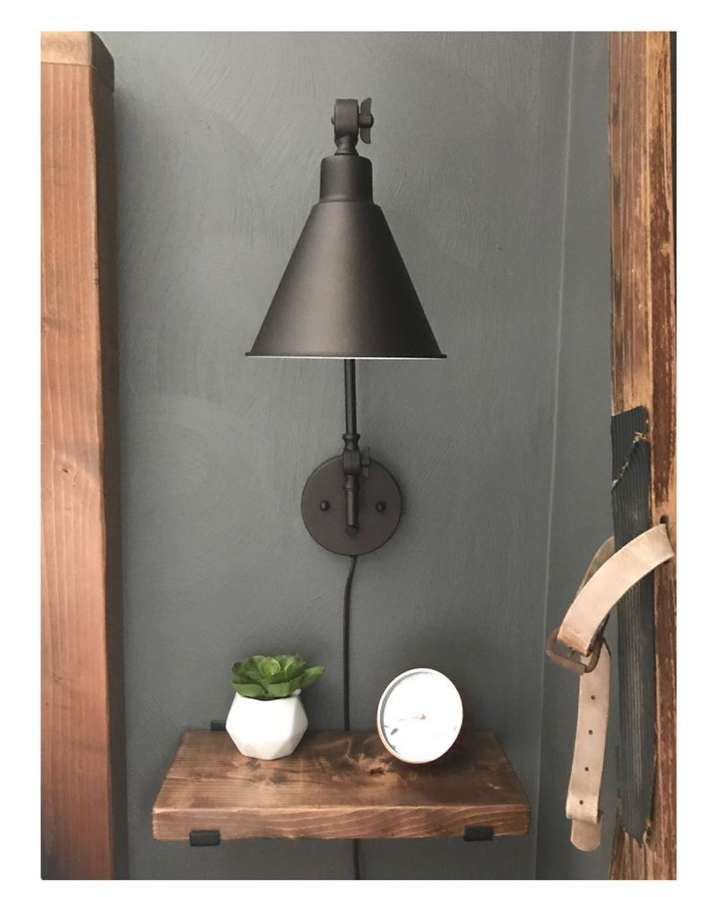 The O G Diyer On Instagram When You Have Limited Room For A Nightstand And Bedside Lamp You Impr Bedside Wall Lights Bedside Wall Lamp Wall Lamps Bedroom