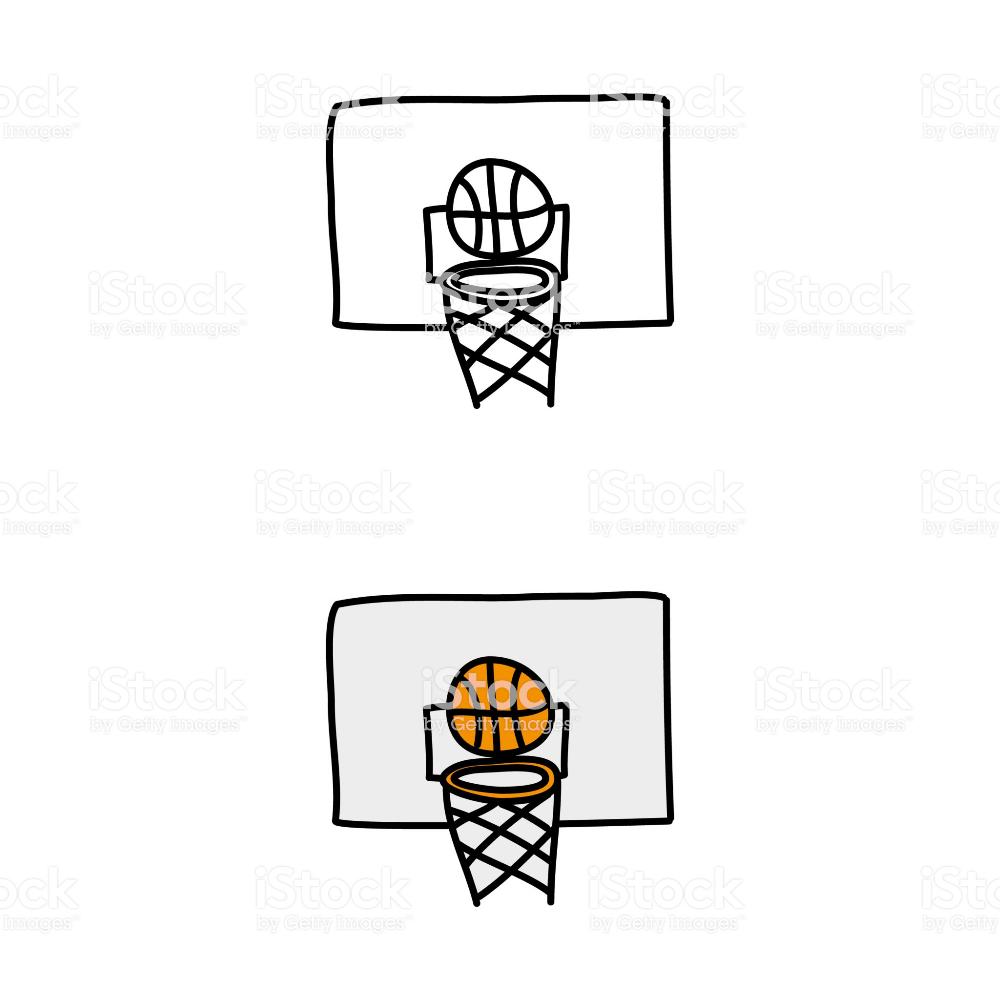 Cartoon Drawing Of A Basketball Plank And Hoop Free Vector Art Stock Illustration Cartoon Drawings