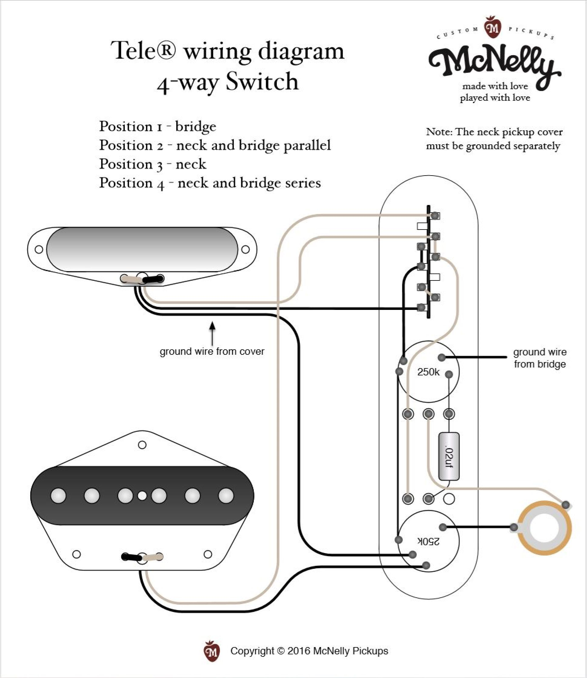 McNelly Pickups Tele® wiring diagram 4way Switch