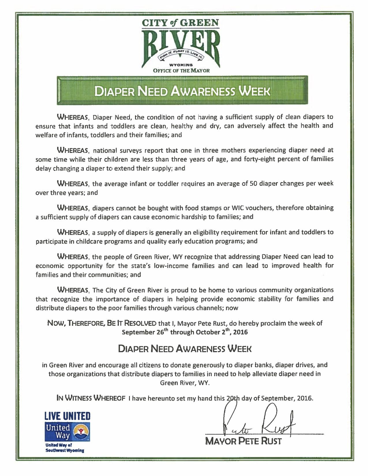 GREEN RIVER, WY- Mayoral proclamation recognizing Diaper Need Awareness Week (Sep. 26-Oct. 2, 2016) #DiaperNeed Diaperneed.org