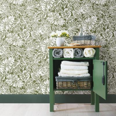 28 18 Sq Ft Batik Tropical Leaf Peel And Stick Wallpaper Peel And Stick Wallpaper Home Decor Decor