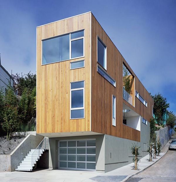 Narrow Lot Modern House Design Awesome Wooden Accents Modern