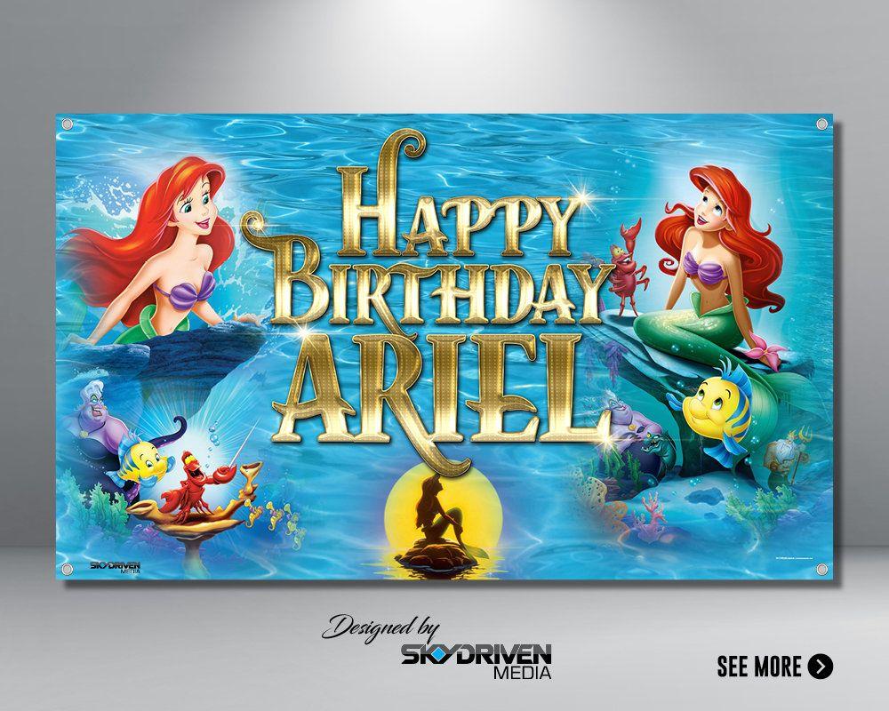 Little Mermaid Banner Ariel Little Mermaid Disney Disneyland Mermaid Beach Under The Sea Banner Aqua Ocean Water In 2020 Banner The Little Mermaid Birthday Banner