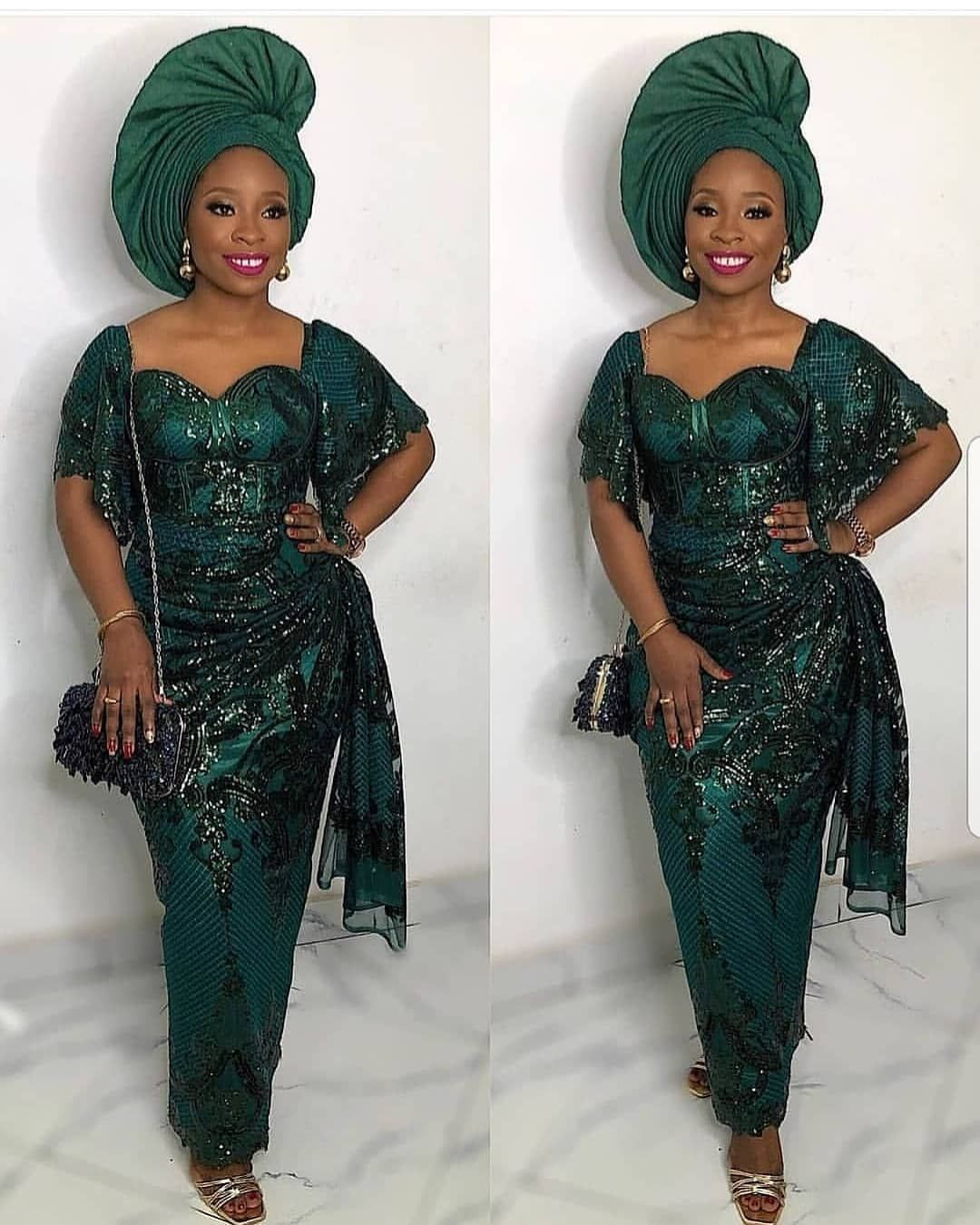 2019 Wedding Color Emerald Green In 2020 Nigerian Dress Styles African Print Dresses Nigerian Wedding Dress