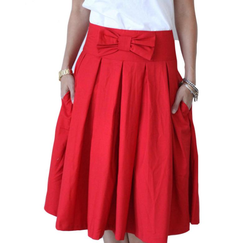 High Waist Pleats A-Line Midi Skater Skirt | A line, High waist ...