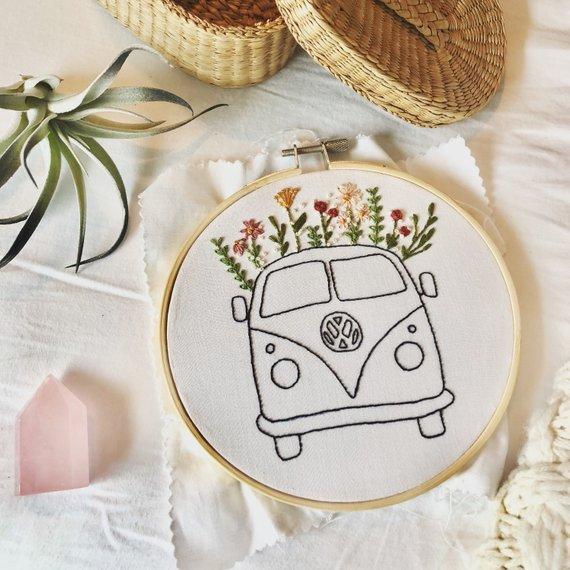 KIT// Hand-Embroidery DIY Kit, Floral VW Bus