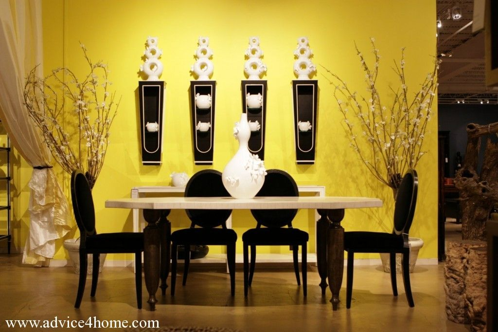yellow wall design with false and traditional dining table design ...