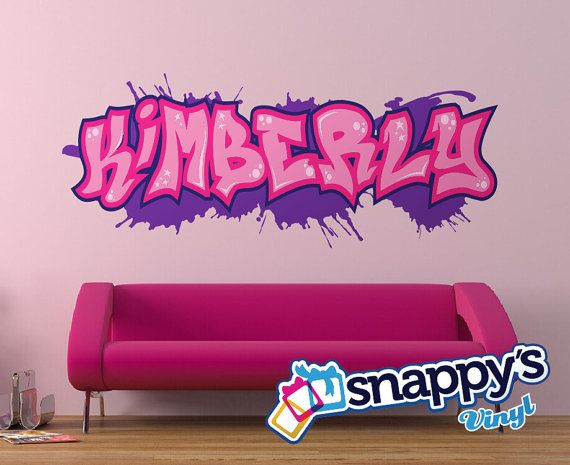 Custom Graffiti Name Style And Color Scheme Wall Decal Vinyl - Custom vinyl wall decals graffiti