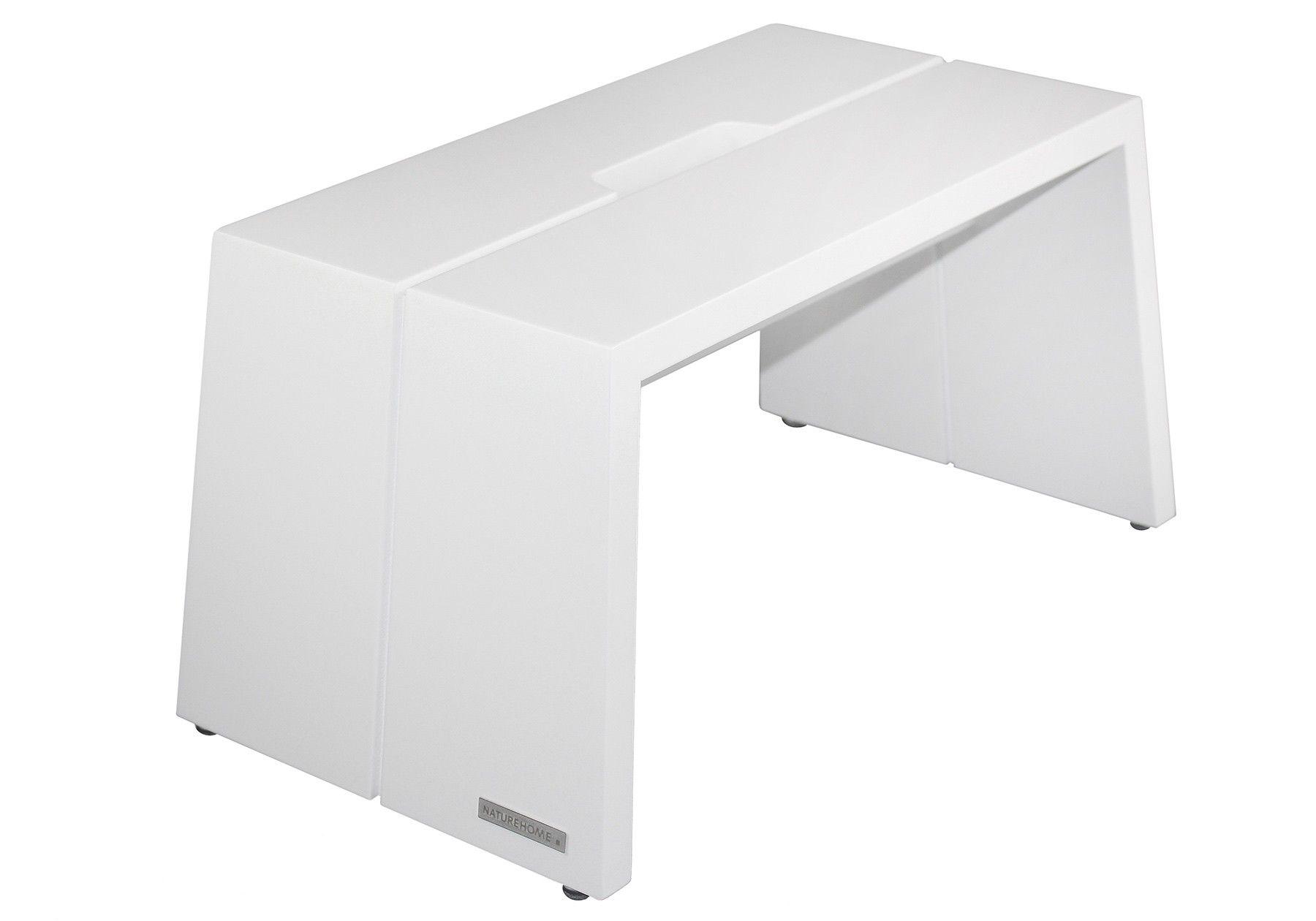 Fußbank Design Massivholz Buche Weiß mit Tragegriff | NATUREHOME