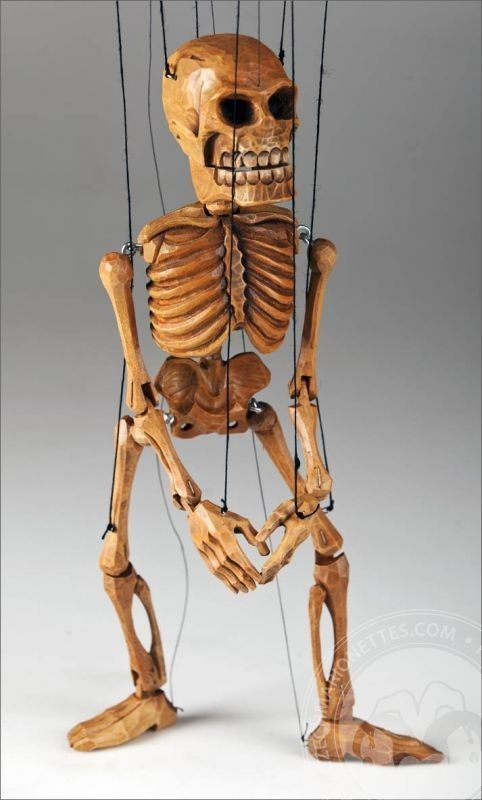 Smiling Skeleton - Hand Carved Puppet (Wooden Toy made in Czech Republic)