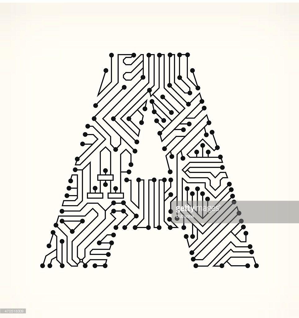 vektorgrafik   buchstabe a circuit board auf wei u00dfem hintergrund