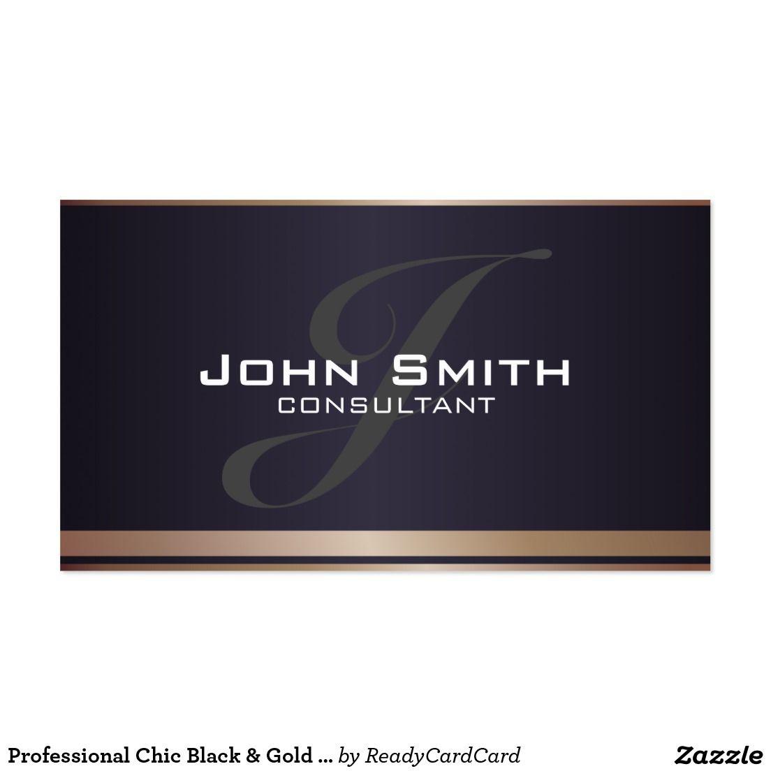 Professional Chic Black & Gold Monogram Consultant Business Card ...