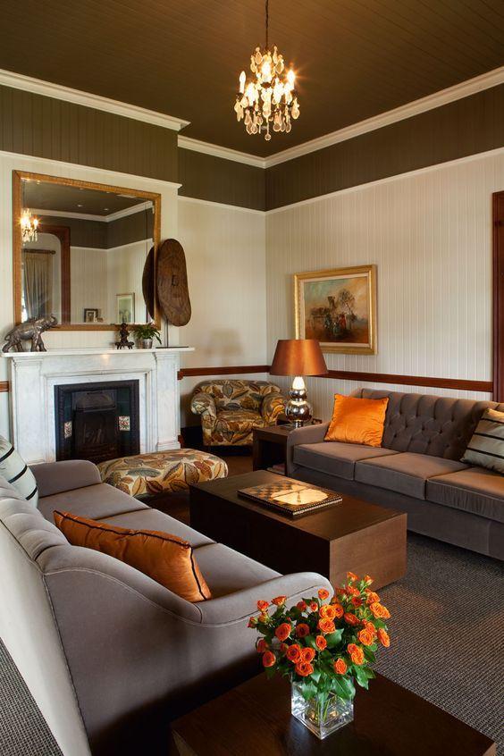 Nuances de bruns et orangés au salon   decor   Living room ...