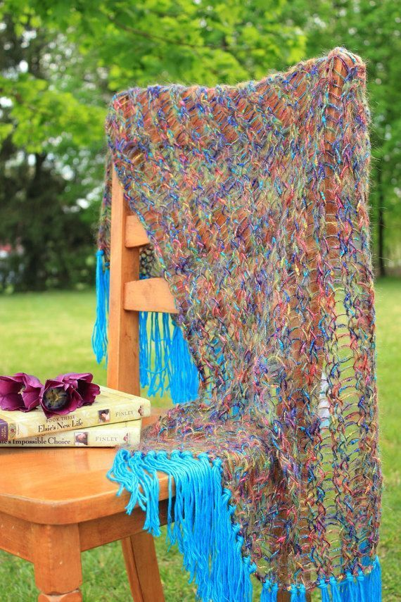 Rainbow Falls Mohair Shawl ~ light and airy with a pop of color Turquoise fringe #rainbowfalls Rainbow Falls Mohair Shawl #rainbowfalls Rainbow Falls Mohair Shawl ~ light and airy with a pop of color Turquoise fringe #rainbowfalls Rainbow Falls Mohair Shawl #rainbowfalls