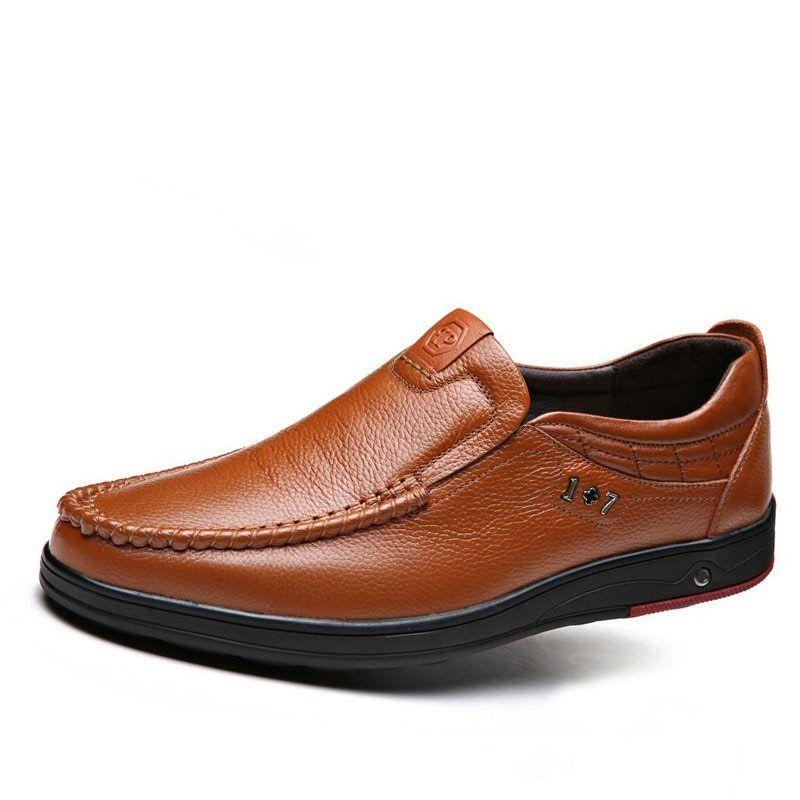 Brand Men s Casual Shoes Soft Brown Slip on Summer Autumn Flats Men Genuine  Leather Shoes Plus Big Size 45 46 47 Men …  45414e1bef67
