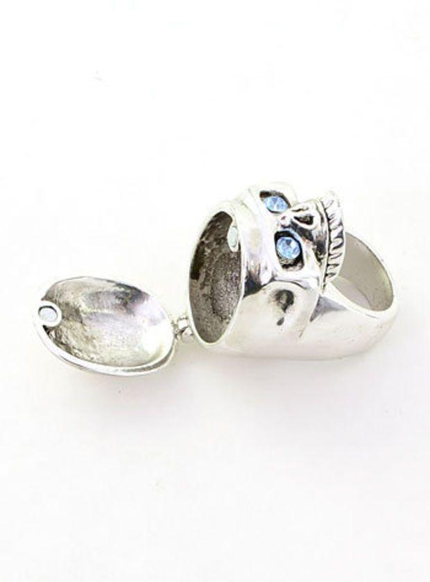 Silver Sinister Secrets Skull Ring
